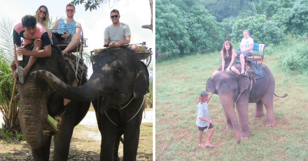 Myself elephant trekking. Left: Krabi, 2008. Right: Khao Lak, 2014.