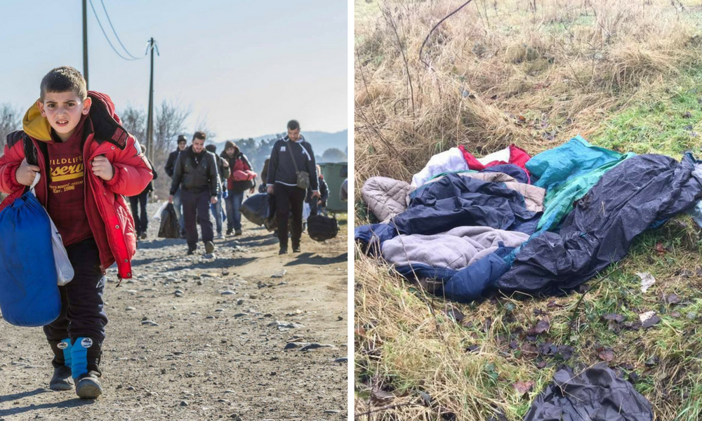 Left: Refugees leaving the 'jungle' camp. Right: Sleeping bags belonging to refugees sleeping rough.